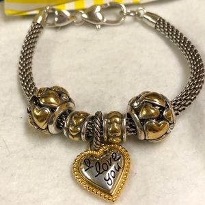 Brighton bracelet with heart beads & charm